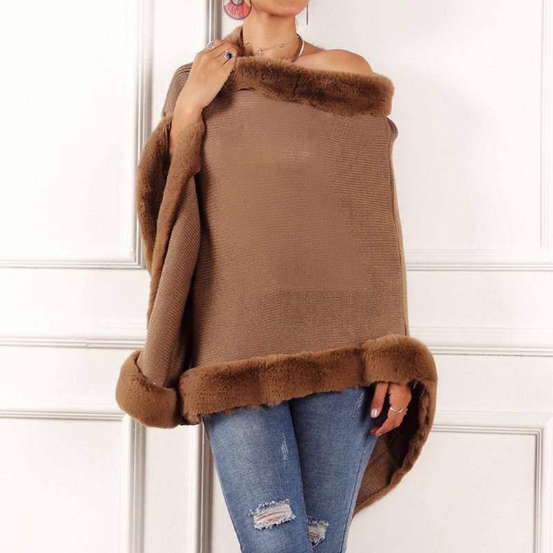 Pull Poncho fourrure Wraps Knit Cap Châle Col rond Pull en fourrure Manteau Femmes Hiver Nouveau solide couleur Pull en vrac
