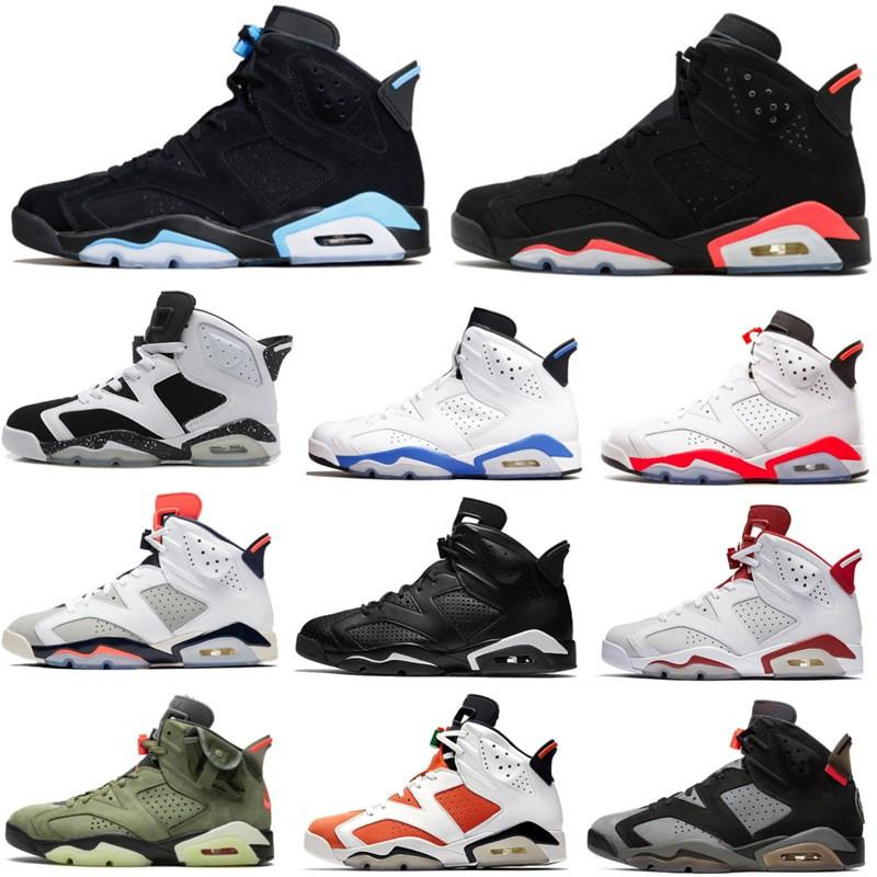 6s Men Travis Scotts Black Infrared Basketball Shoes 6 CNY Tinker UNC Black Cat Women Trainers Sports Sneakers Size 7 - 13 With Box