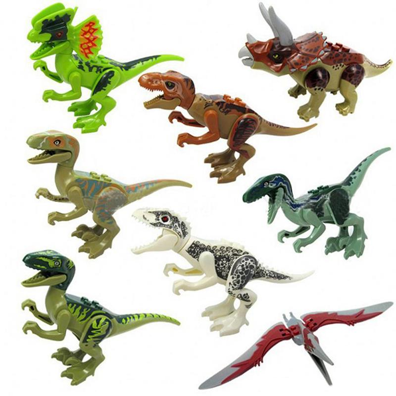 8 pcs Dinosaur Model Toys Jurassic Dinosaur Figures Model Bricks Mini Figures Building Blocks Kids Educational Toys Novelty Items