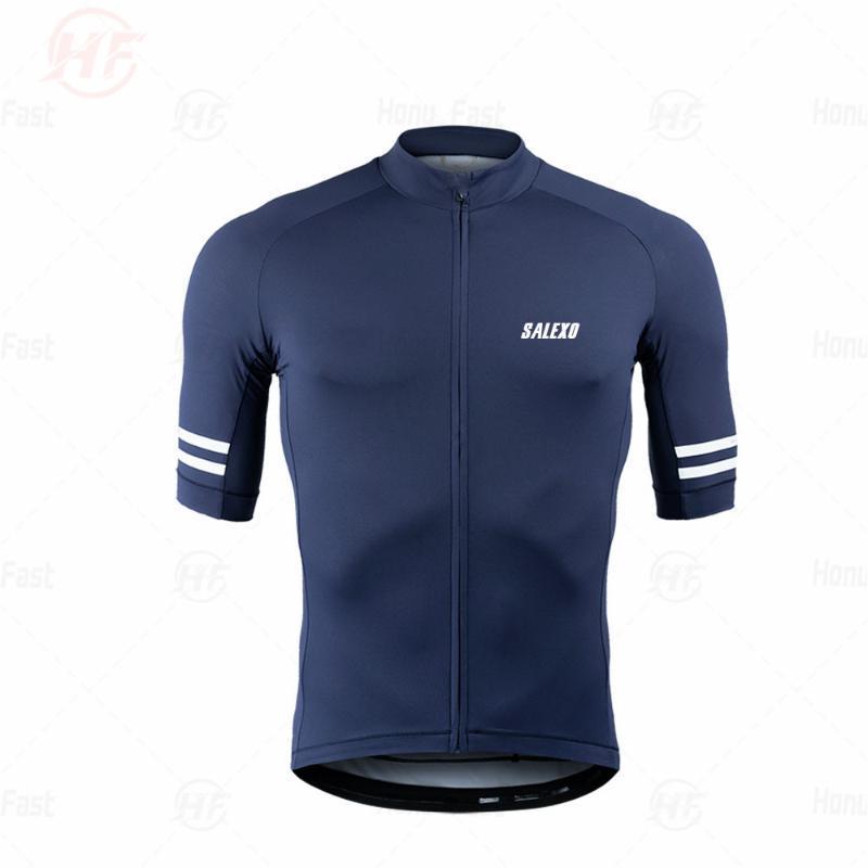 SALEXO equipo de hombres de manga corta ciclismo Jersey 2020 AZUL ropa de ciclo compite con la bici MTB JERSEY Uniforme Rode Ropa