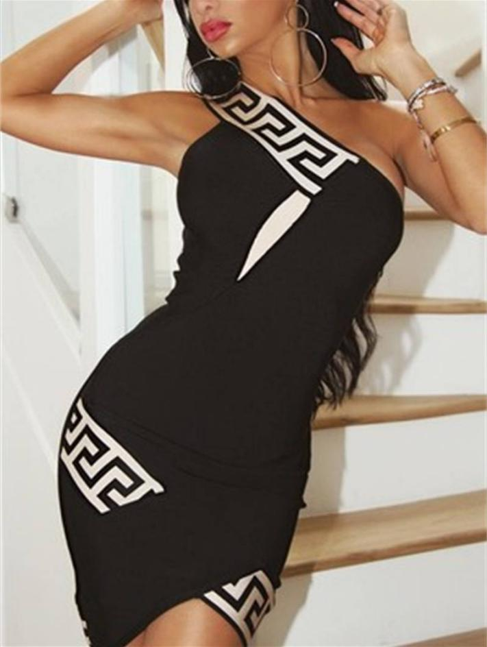 2020 Marka Bayan Elbise Tasarımcı Etekler Çizgili Boyun Yaz İnce Elbise Kadınlar Kolsuz Seksi Tek Omuz Elbise Polyester Elbiseler