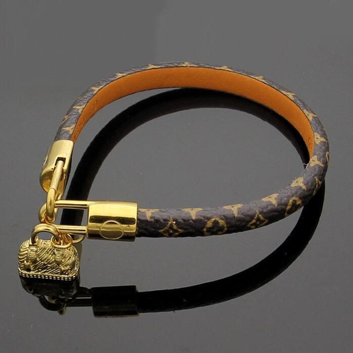 أعلى جولة الجودة أساور جلد طبيعي مع تصميم حقيبة الذهب الاكسسوارات للمجوهرات النساء والرجال زهرة سوار طباعة العلامة التجارية اسمه