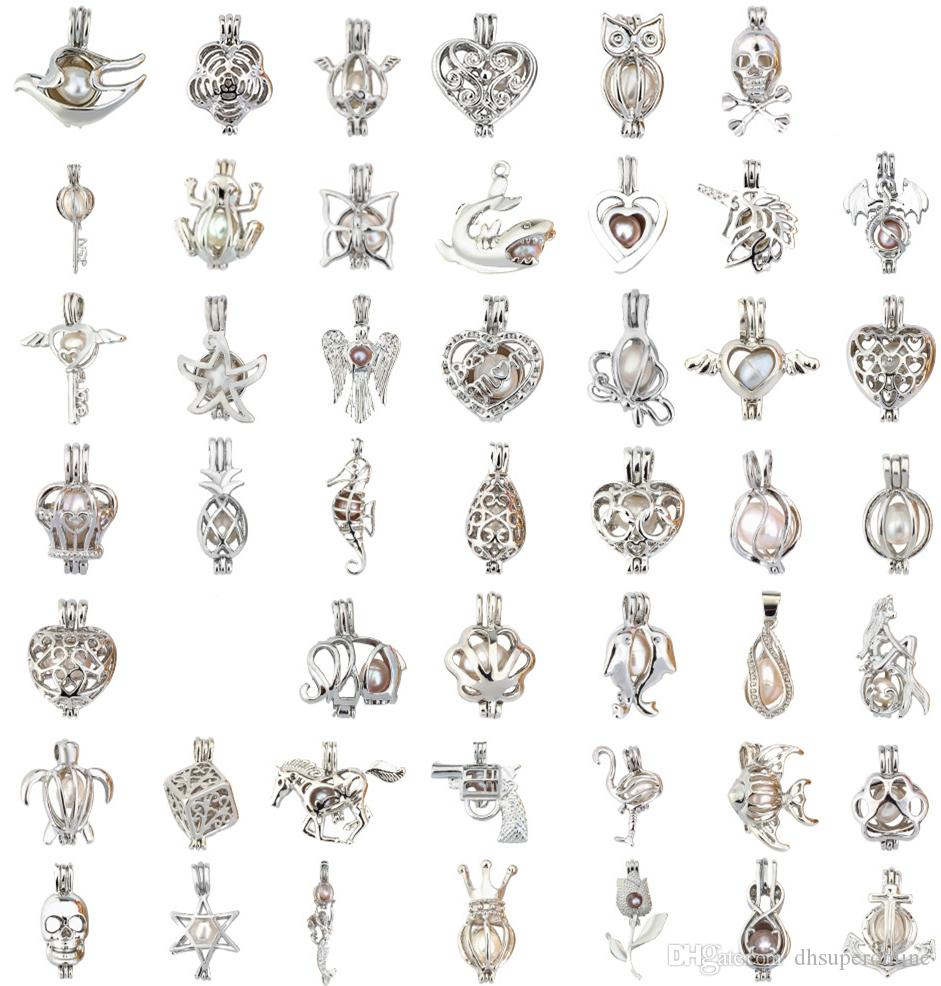 Mix 60 Style cage IN STOCK 18kgp love wish pearl cage Wholesale pendant locket cages Pendants, DIY Pearl Necklace charm pendants mountings
