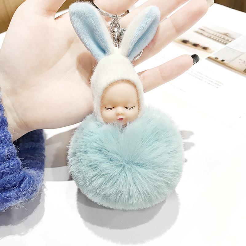 Cute Sleeping Baby Doll Keychain Pompom Rabbit Ear Ball Carabiner Key Chain Keyring Women Kids Key Holder Bag Pendant key Ring Favor RRA2893