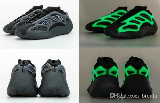 Alvah 700 v3 Azael 700 черный белый скелет мужчины женские дизайнерские кроссовки Kanye West кроссовки светятся в темноте