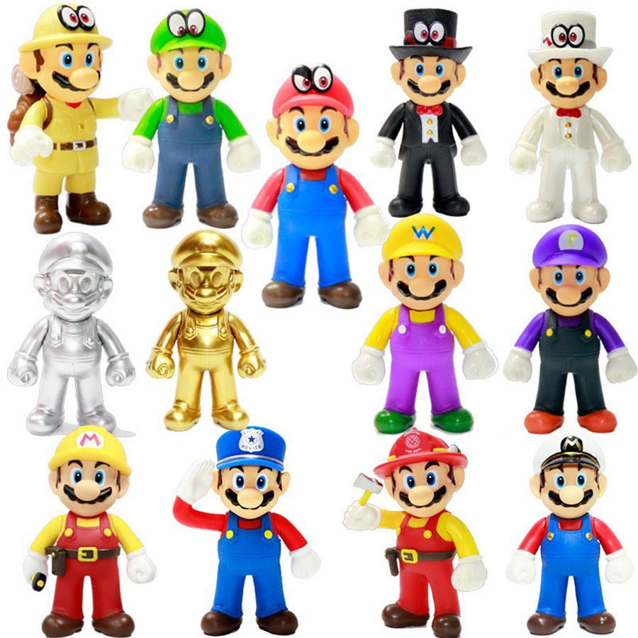 Super Mario Bros Stand Луиджи Марио Плюшевые игрушки Мягкие Наполненный Аниме куклы для малышей подарки Super Mario Плюшевые игрушки 50шт RRA2082