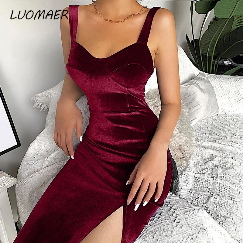2020 Velvet Sleeveless Spaghetti Strap Knee-Length Bodycon Dress Sexy Split Skinny Solid Soft Backless Elegant Party Dress