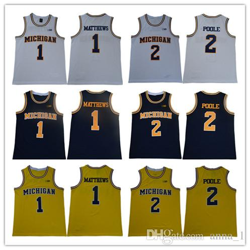 Mens 100%Embroidery Michigan Wolverines Iggy Brazdeikis Basketball Jersey 5 Jalen Rose 1 Charles Matthews 2 Jorda Poole Michigan Jersey