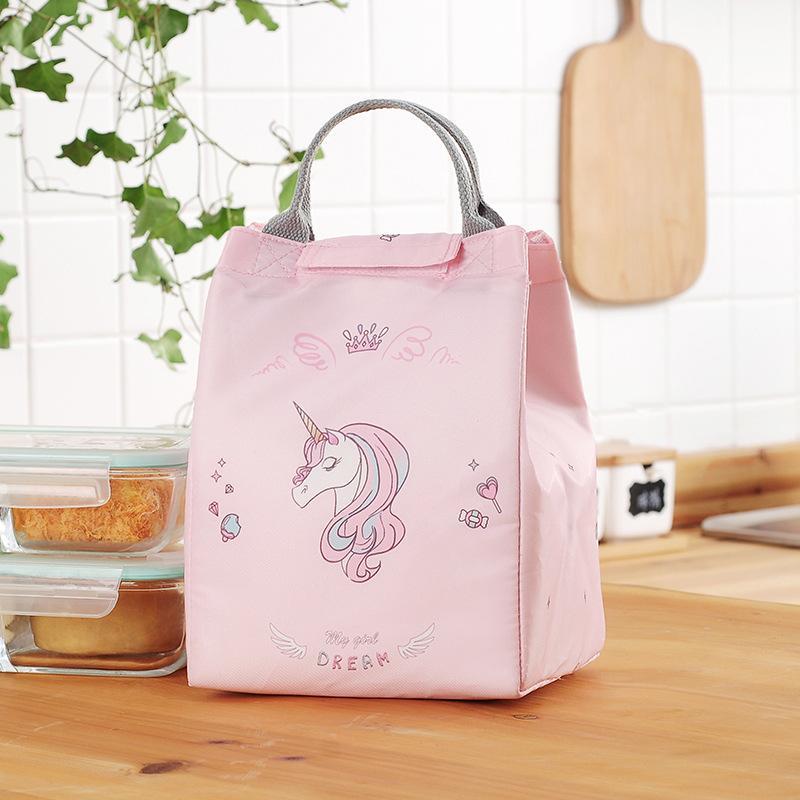 Unicornio del aislamiento del bolso del almuerzo del papel de aluminio pequeño almuerzo de asas azul bolsas de Mujeres Térmico Caja de bolsa de hielo rosa bolsos