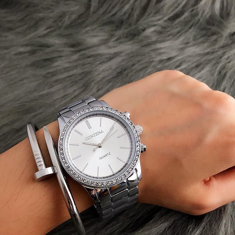 Großhandel Mode-Silber-Uhr-Frauen-Uhren LuxuxRhinestone Damenuhren Damenuhr Uhr Relogio Feminino Zegarek Damski