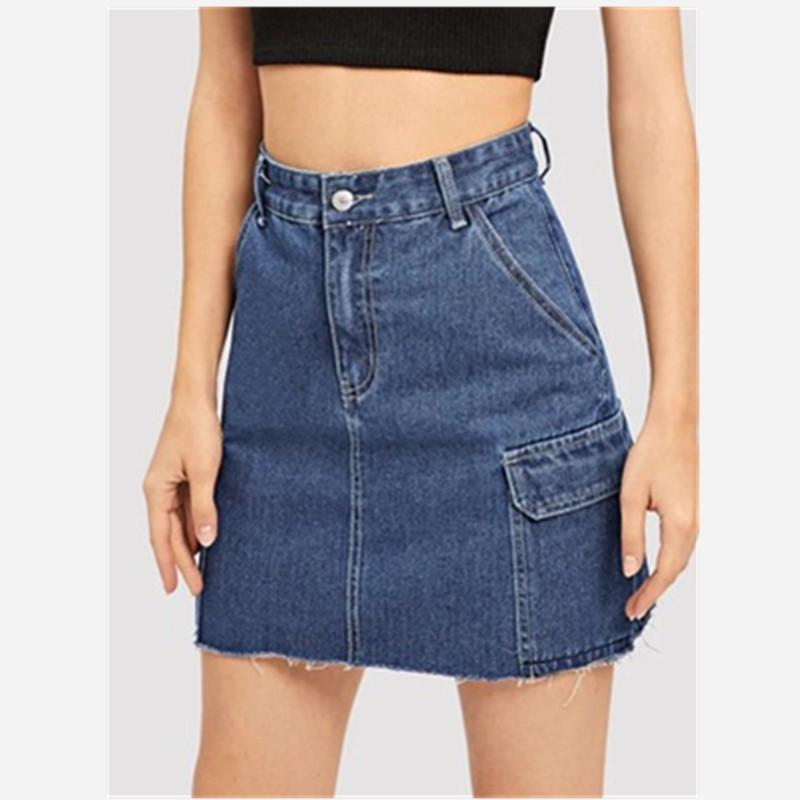 Summer popular hot Europe and the United States new fashion high waist slim fashion pocket casual sexy women's denim skirt
