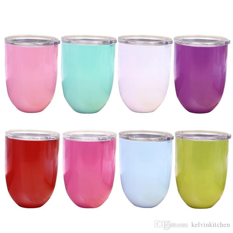 Acier inoxydable 304 double en forme de U tasse de coquille d'oeuf en forme de goutte d'eau en verre de vin tasse à oeuf vide