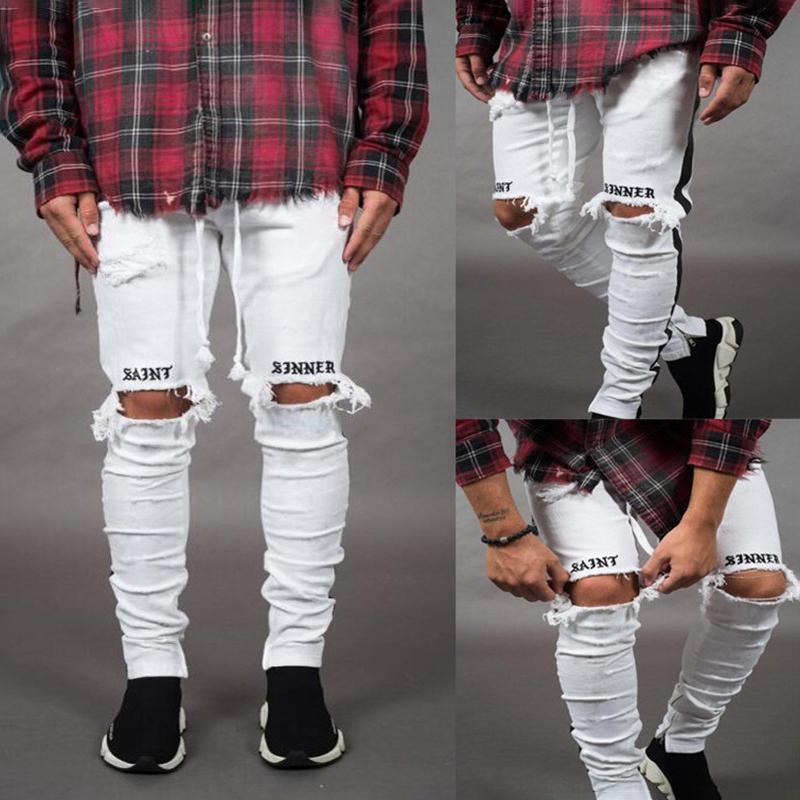 Nuovo stile uomini elastico strappato 2019 Skinny Jeans uomini distrutti nastrate fori slim fit White Denim