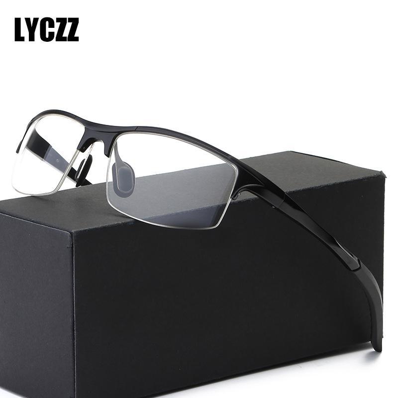 LYCZZ Sport Aluminium Magnesium Glasses Frame Men Half Myopia Gafas Monturas Optical Clear Eyewear Prescription Frame Oculos