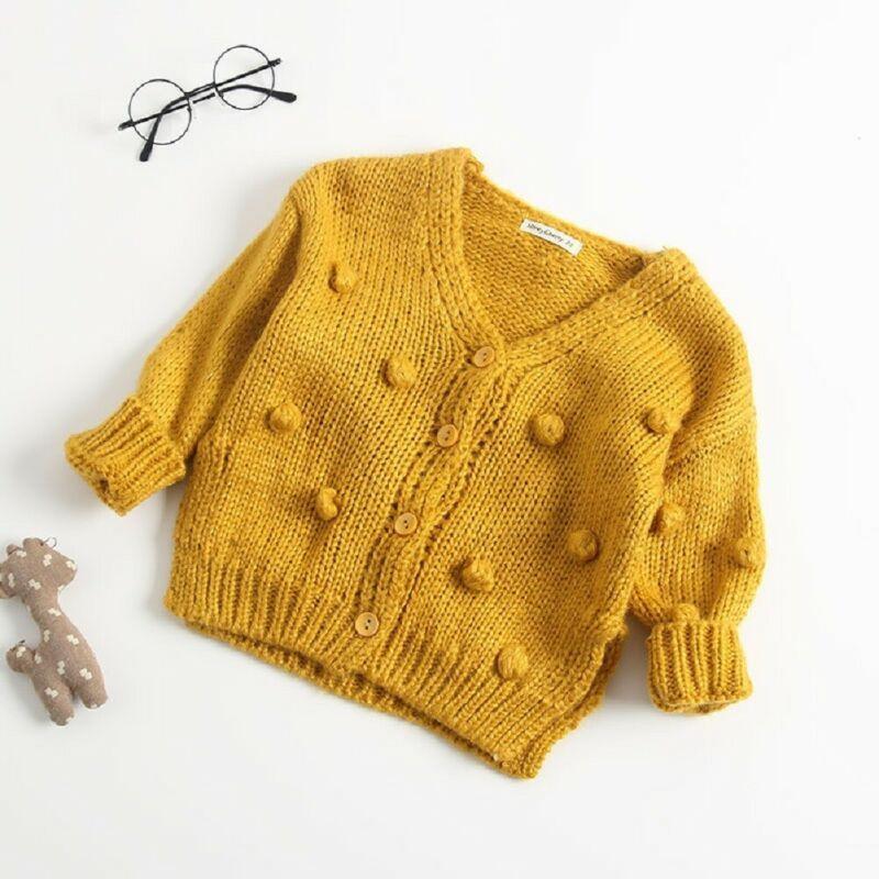 Yeni Moda Bebek Kız Bebek Giyim Uzun Kollu Örme Triko Son Kat Dış Giyim Hırka Sonbahar Kış 6M-3years Isınma