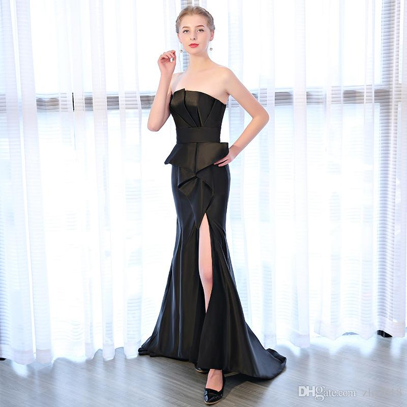 Hot Sale Luxury Black Satin Evening Dress 2019 Front Split Sheath Mermaid Style Prom Gowns Beautiful Girls Party Dress