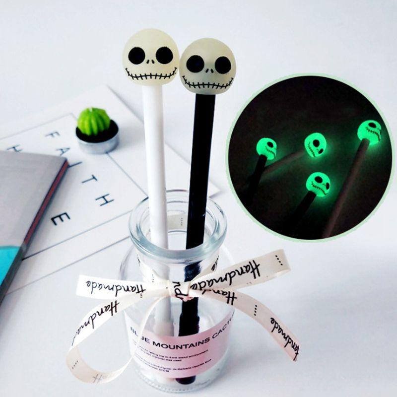 Noctilucent Skull Gel Pens 0.5mm Gel Pen School Office Supplies Halloween Gift Writing Supplies Kids Awards Gifts