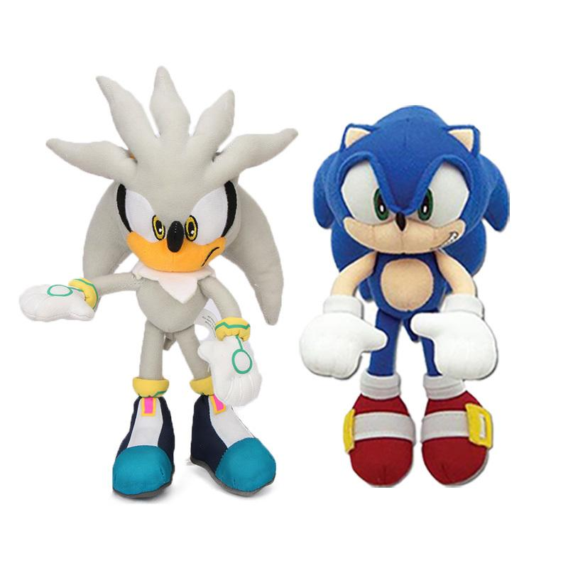 Pack of 2 18-32cm Brinquedos de prata Set Azul Super the Hedgehog Plush Toy Sonic Chaos Knuckles Dolls Keychain Y200703