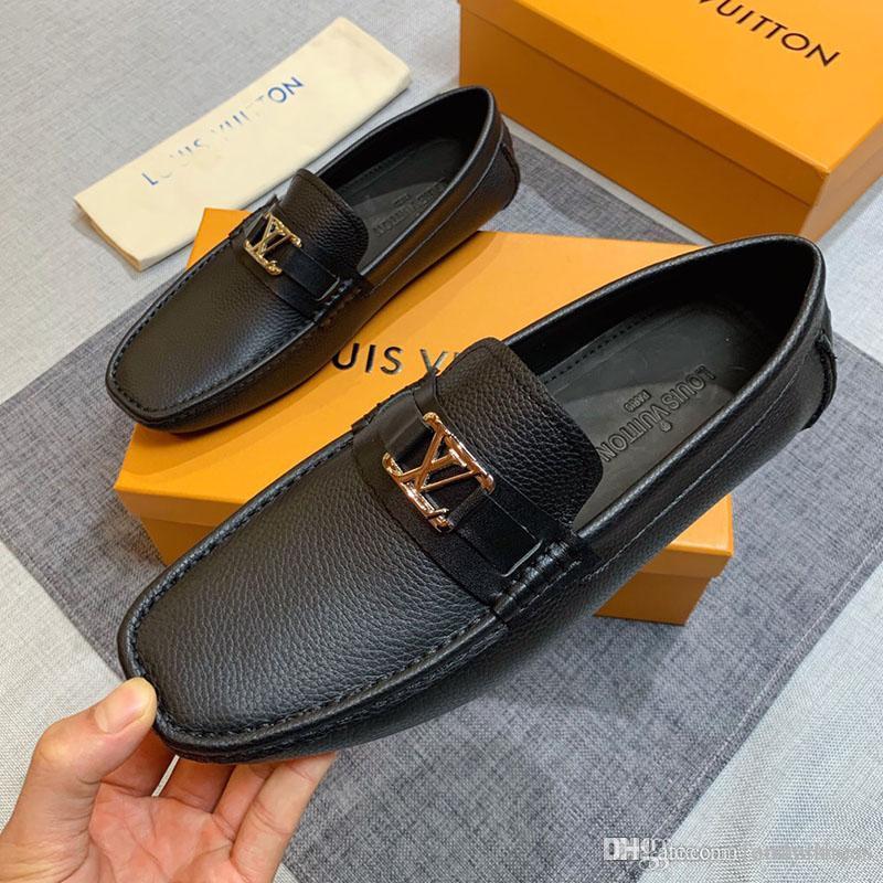 Les hommes chaussures de mode formateurs luxe en cuir véritable bouton en métal plat Pois chaussures chaussures confortables occasionnels classiques pour hommes Livraison gratuite