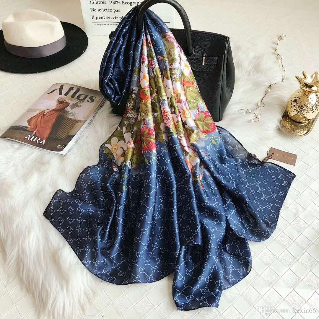 High-end moda bayanlar 2019 yeni ipek eşarp 180 * 90 cm bahar ve yaz marka eşarp