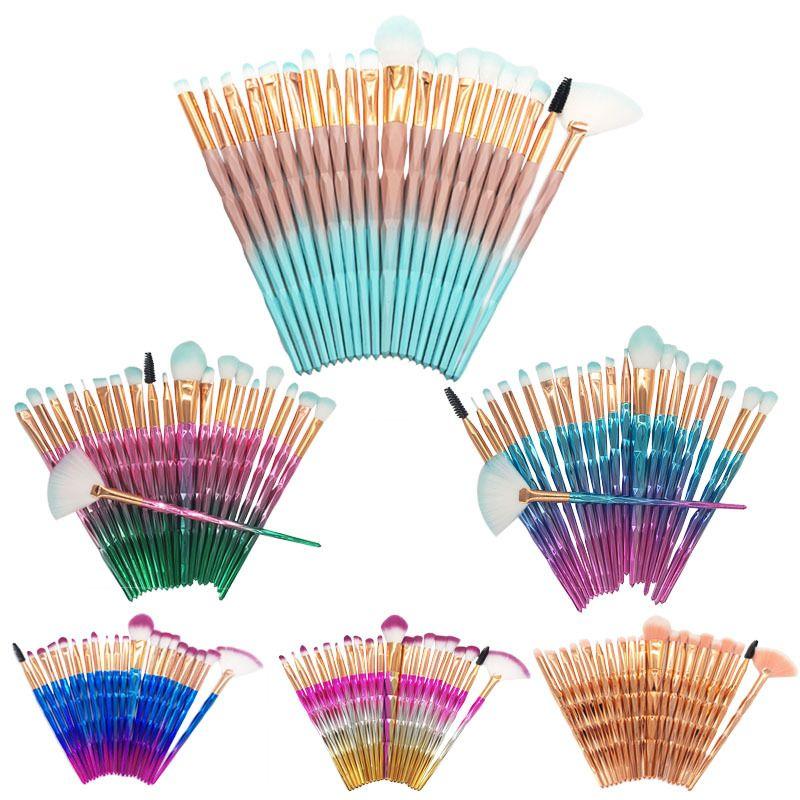 Venta caliente conjunto de pinceles de maquillaje 20 unids herramientas de pincel de diamante mango de nylon suave cabeza del cepillo 7 colores disponibles envío de cosméticos accesorios