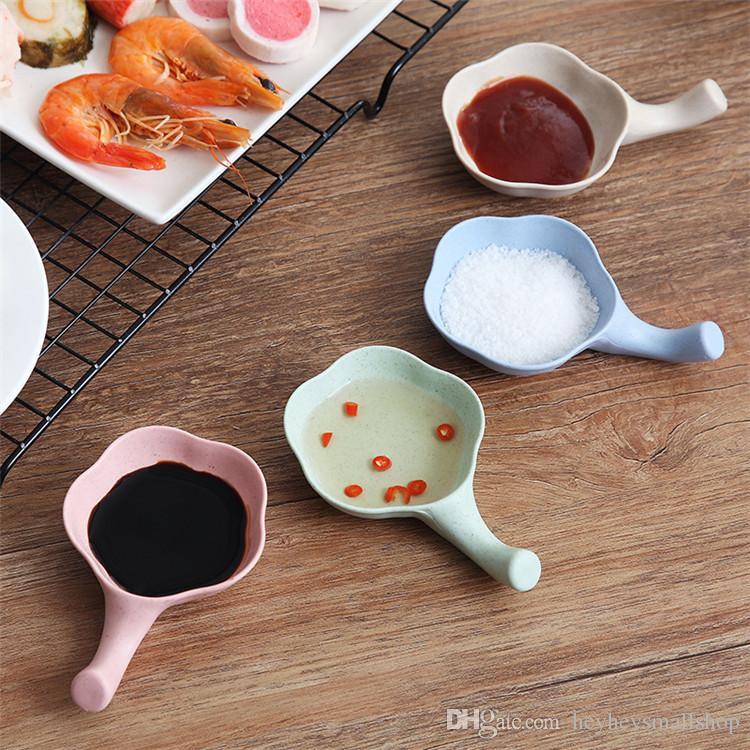 Plato de diseño de cereza Plástico Trigo Paja Especias Salsa de soja Plato Salsa Juego de platos con palillos