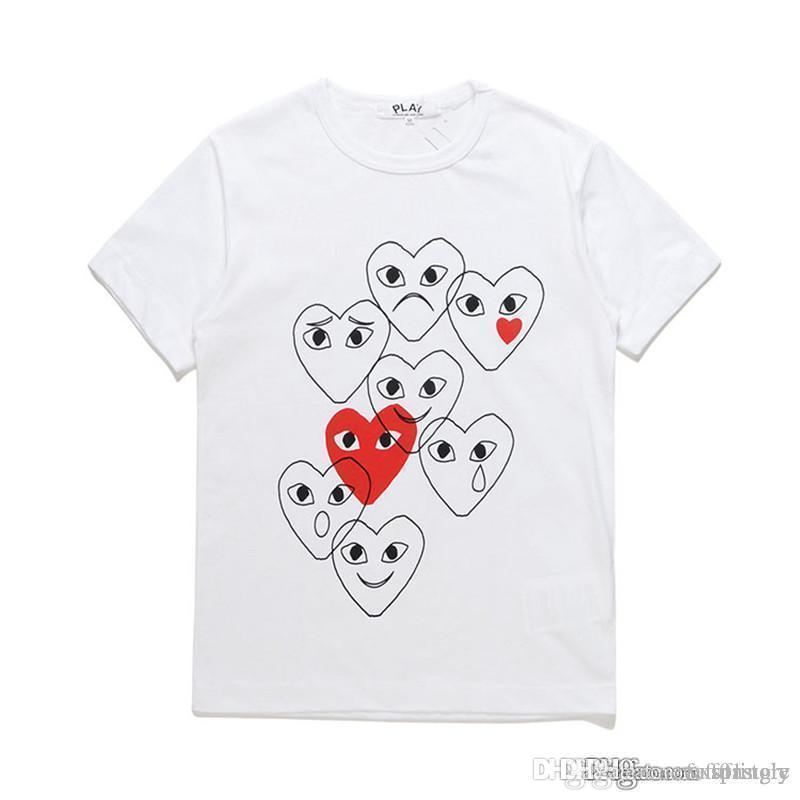 2018 أحدث كوم أفضل جودة الأسود cdg جديد رجل إمرأة ديس لعب garcons cdg الأحمر القلب قصير كم des garcons t-shirt