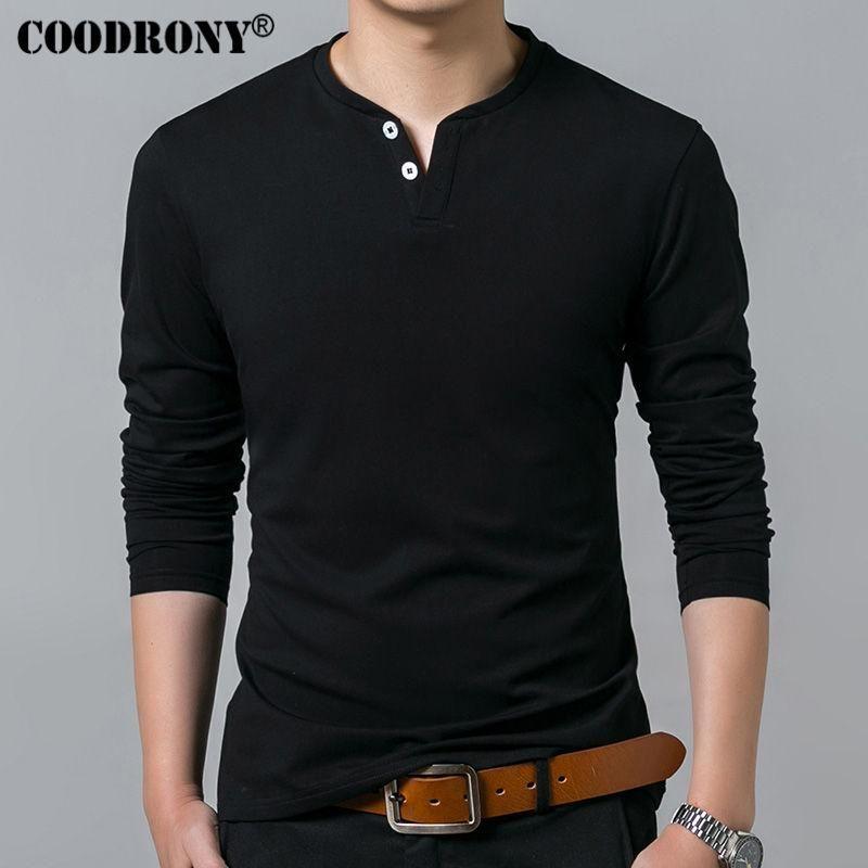 T-shirt Masculino Homens Primavera-Verão New Long Sleeve Henry Collar T Shirt Men Marca Suave Pure Cotton Slim Fit Camisetas New Simples