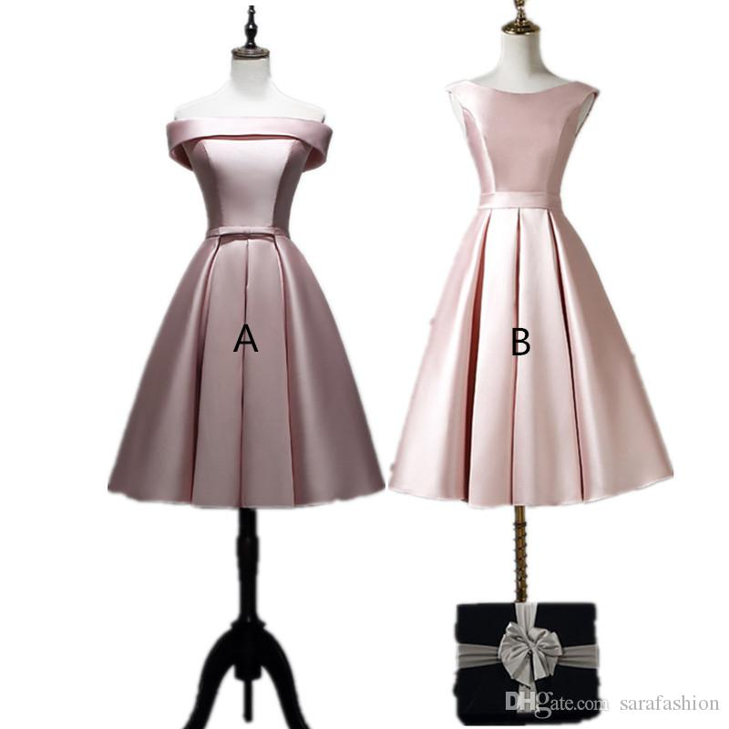 Blush rosa raso raso abiti da damigella d'onore lace Up 2020 Ginocchiera Dress Party Robe de Soiree