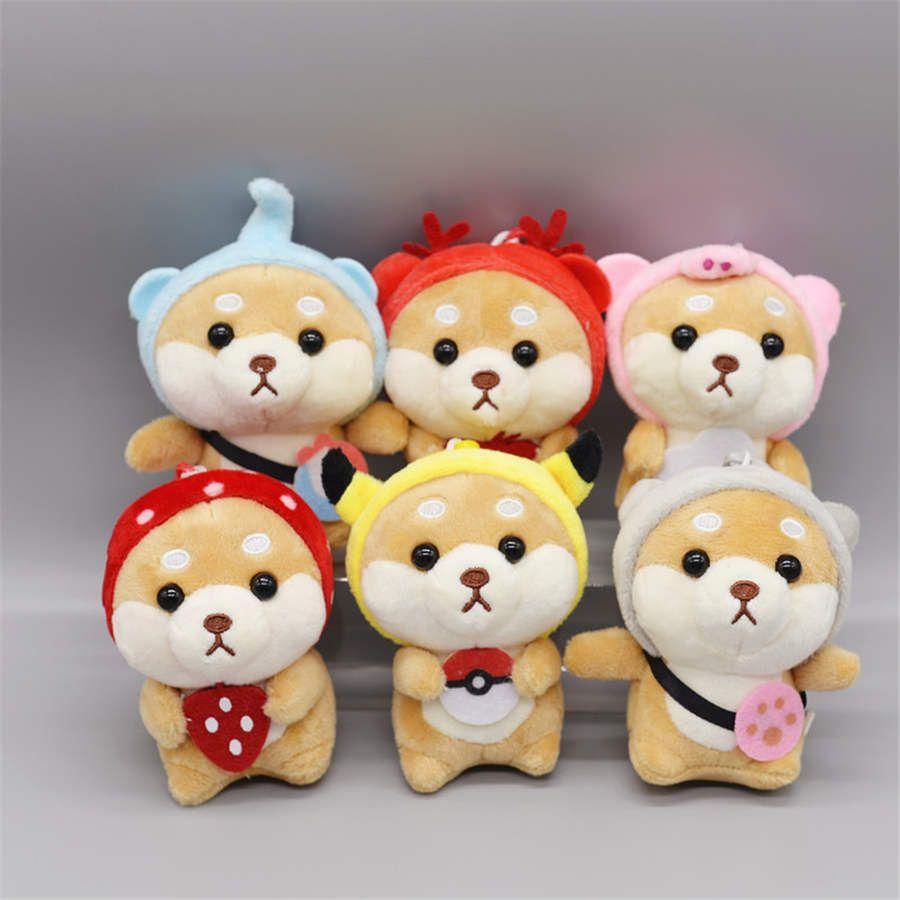 Pequeno bonito Shiba Inu animal New Keychain Kawaii Dress Up Shiba Inu Cheio Plush Doll Toy Bebê Plush Toy Keychain do bebê