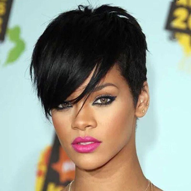 Rihanna Novo Estilo Elegante 1B cor preta reta curta África americano perucas peruca de cabelo Ladys sintéticos / Perucas peruca completa sem tampa