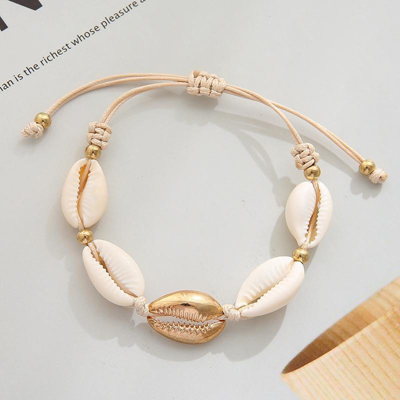 Bracelet en alliage de coquillages blancs Originalité naturelle en alliage de coquillages et ornements à la main