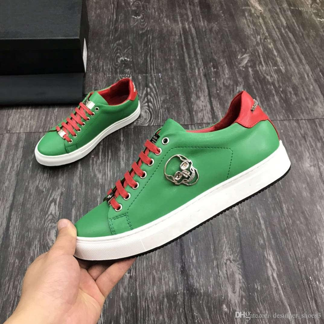Genuine leather Casual shoes High quality men casual shoes hardware design decorative yellow red and green black Affordable Branded Shoes