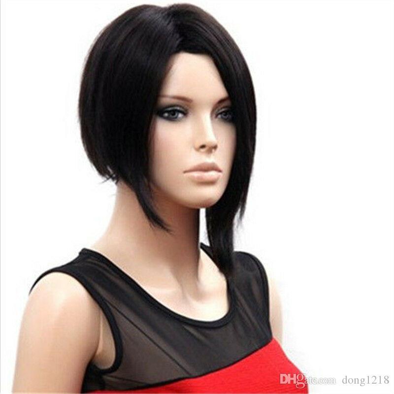 Perruque synthétique courte Feibin Pour Femmes Nature Noir Droite Bob Cheveux Cosplay Perruques