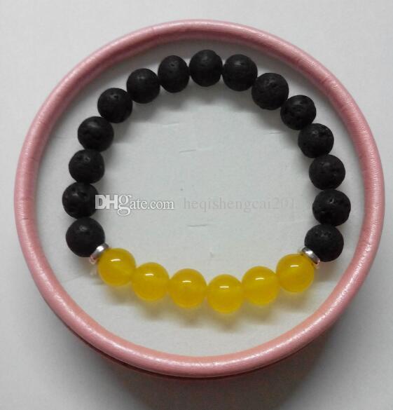 2019 venda Quente 8mm amarelo Lava De Quartzo Yoga Pulseira Cura Cristais Pulseira Mala Contas Chakra Pedra Natural Womens Yoga Pulseira