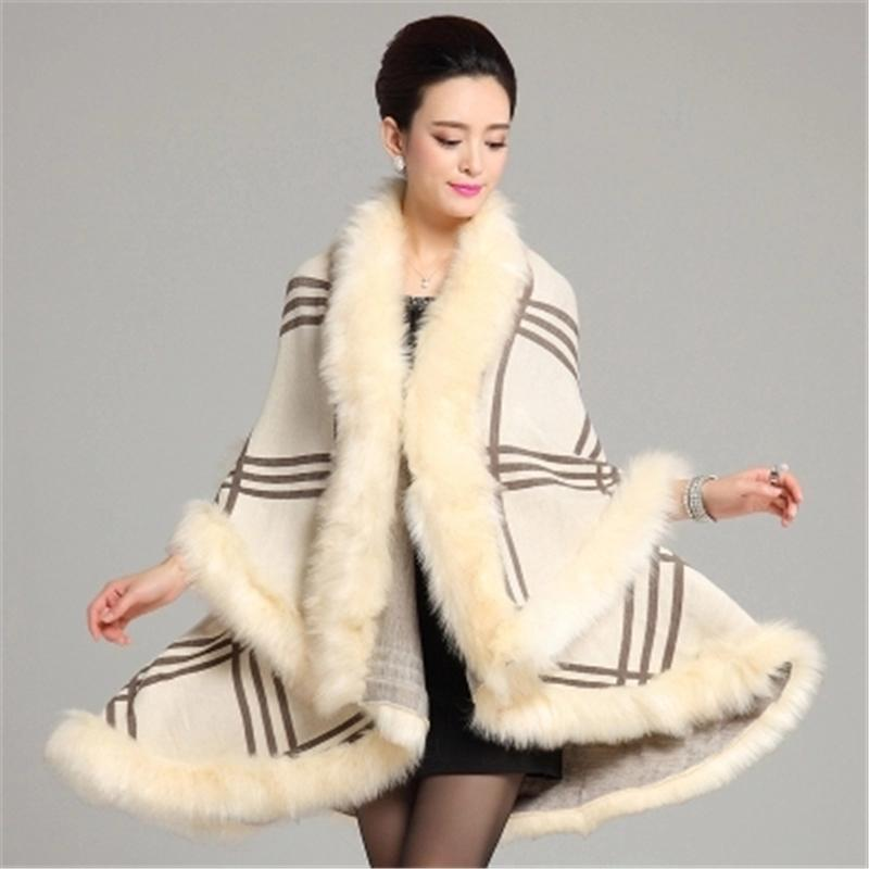 Faux Fur Coat New Winter Luxury Fashion Faux  Fur Poncho Bat Sleeve Long Plaid Knitted Cardigan Shawl Cape Cashmere Coat L949