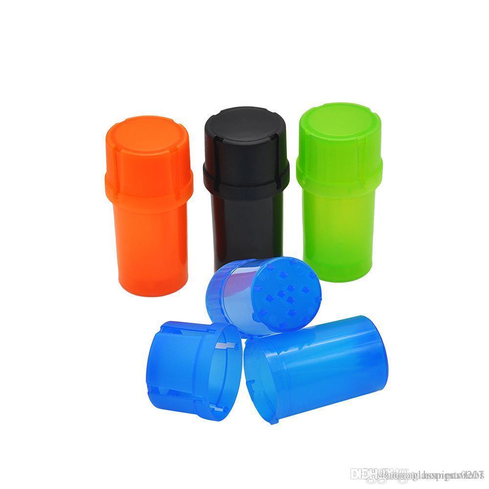 Günstige 40mm Mini-Kunststoff-Tabak Gewürzmahlvorrichtung Crusher Grinder Crusher Rauchtabak Schleifer Set Farbe gelegentliches freies Verschiffen