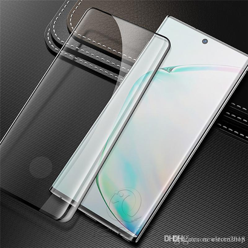 For Galaxy NOTE10 Tempered Glass Case Friendly Good Fingerprint Unlock Curved Screen Protector Film for Samsung S10 S9 S8 Plus eshop