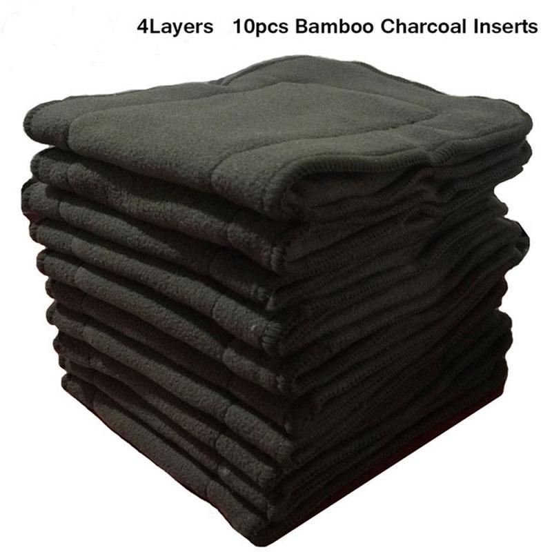 Ohbabyka 10pcs pañal de tela Insertos 4 capas de carbón de bambú de bolsillo del pañal Insertos revestimientos para el bebé Panal del paño couches lavables CJ191115