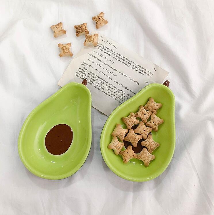 الأفوكادو لوحة من السيراميك الأطفال وجبة إفطار وعاء أدوات المائدة لوحة الحلوى لوحة وجبة خفيفة صحن سلطة صور الدعائم