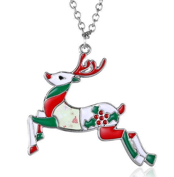 Fashion-Babbo Natale Collane pittura a olio Cervo Albero Adesivi Ciondolo Catena Dichiarazione della collana del maglione gioielli regalo per le donne gli uomini