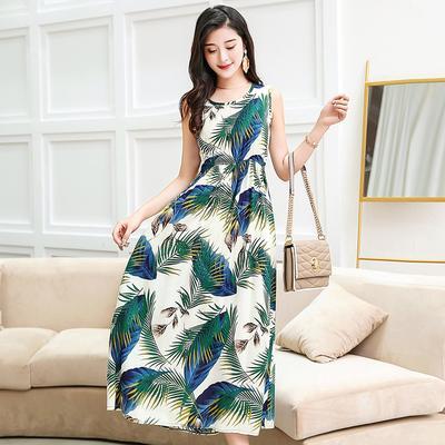Yaz elbise kolsuz yelek etek bohem asil mizaç XL-6XL anne pamuk ipek elbise