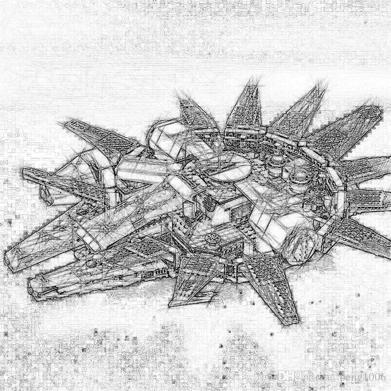 Em estoque 1381 pcs Compatível com 75105 Estrela do Milênio 05007 Falcon Nave espacial Blocos presente de aniversário Brinquedos 79211