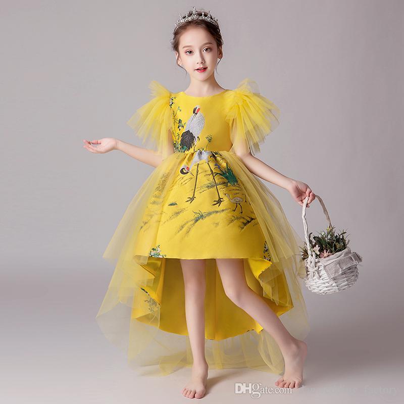 Pretty Yellow Tulle Jewel Print Hi-Lo Girl's Pageant Dresses Flower Girl Dresses Birthday Dresses Custom Made Size 2-14 ARZF424
