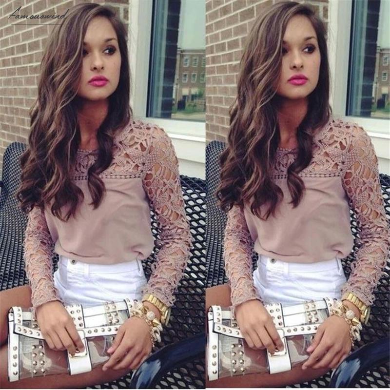 Manicotto del merletto del ricamo all'uncinetto Tee Chiffon Shirt Abbigliamento Donna Moda Donna Sheer supera camicetta Drop Shipping