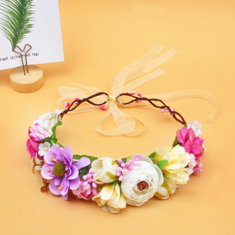 Cadılar Bayramı Çelenk Düğün Çiçek Kafa Garland Şerit Bow Kız Çiçek Çelenk Elastik Saç Aksesuarları İçin Yeni Moda Çocuk Headdress