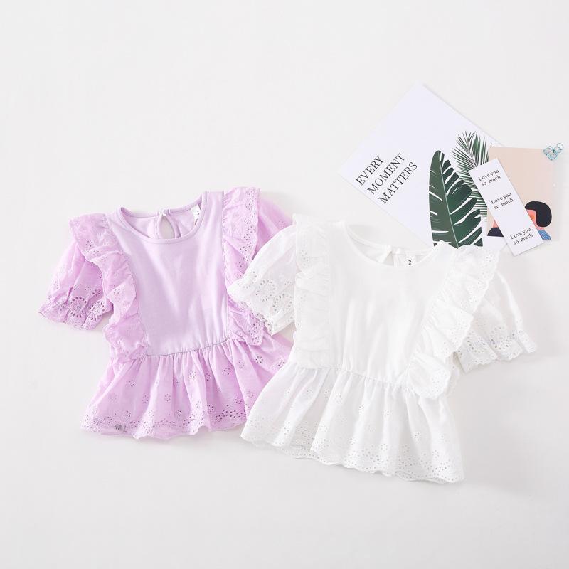 camicia della principessa delle ragazze di estate 2020 nuovi bambini vuoti fiori falbala breve scherza la camicia in cotone a maniche falbala camicia principessa tops A2785