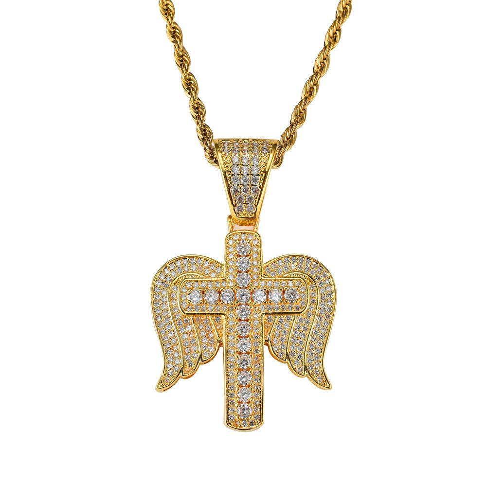 2019 اتجاهات الموضة للرجال جودة عالية فاخرة الساخن بيع الهيب هوب الصليب أجنحة الملاك كامل الماس قلادة قلادة جميلة الاكسسوارات dj