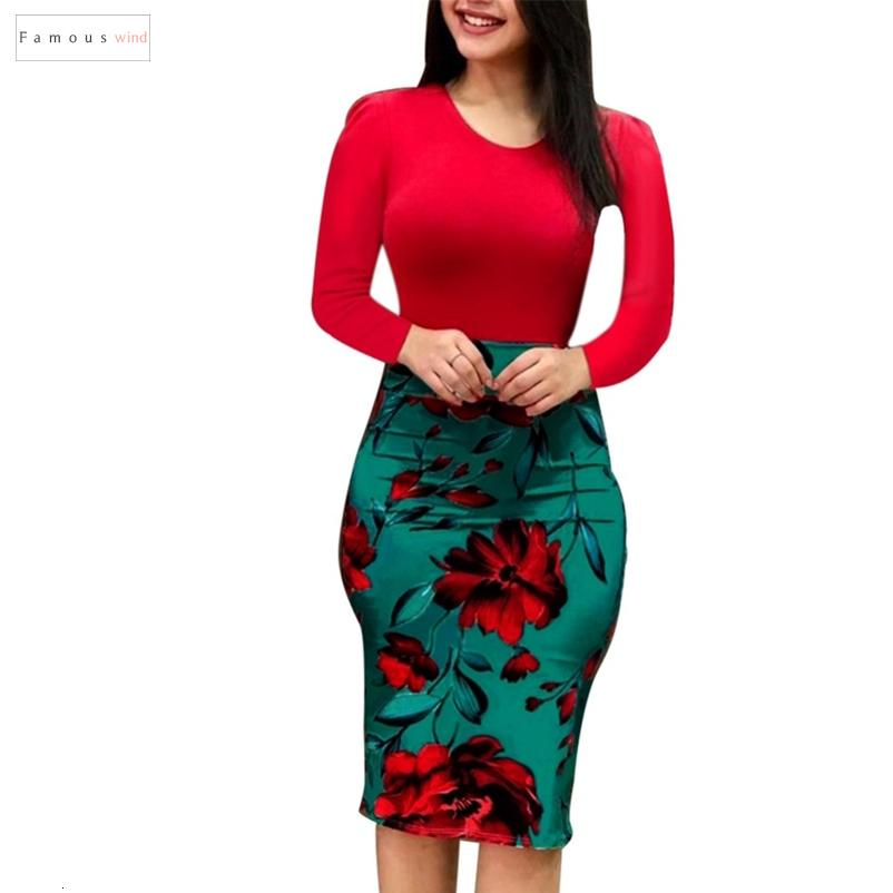 Women Elegant Autumn Dress Over Evening Sexy Floral Pencil Dresses Long Sleeve Sized Party Dress Bodycon Vestidos X3 Designer Clothes
