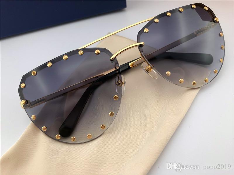 نظارات شمسية مصممة أزياء جديدة 0984 إطار غير نظامي بلا إطار مع مسامير شعبية على نمط أعلى جودة uv400